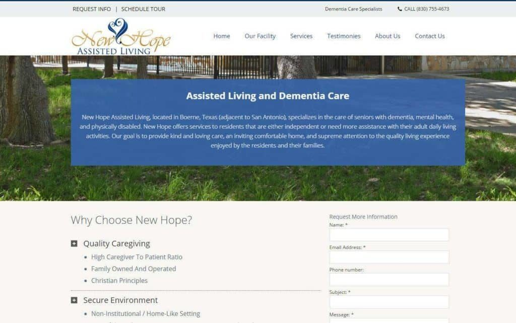 dementia care website designs